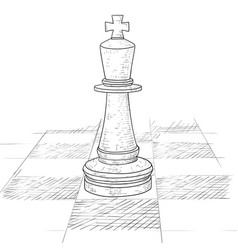 the king chess piece on a chess board hand drawn vector image
