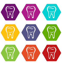 Tooth icons set 9 vector