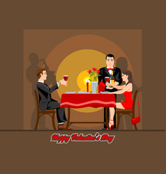 Two lovers have a romantic evening in a restaurant vector