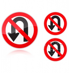 U-Turn forbidden road sign vector
