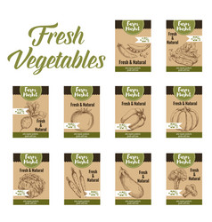 Vegetable tag and farm market veggies price labels vector