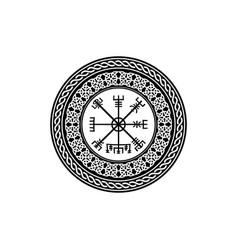 Viking symbol vegvisir rune round magical compass vector