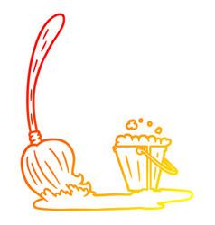 Warm gradient line drawing cartoon mop and bucket vector