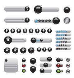 Web elements set white buttons vector