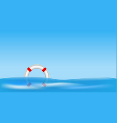 White life buoy floating on water vector