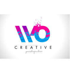 wo w o letter logo with shattered broken blue vector image