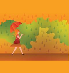 Woman with umbrella on rainy day vector