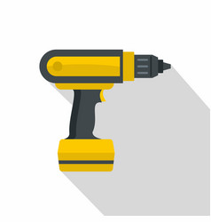 yellow electric screwdriver drill icon flat style vector image