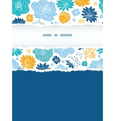 Blue and yellow flowersilhouettes torn frame vector image vector image