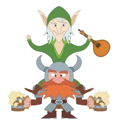 Friends drunken elf and dwarf vector image