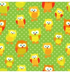 Seamless pattern with cute cartoon owls on green vector image
