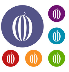 striped melon icons set vector image