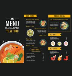 Thai food restaurant menu template flat design vector