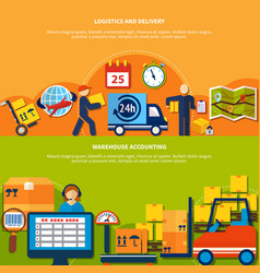 two warehouse banner set vector image