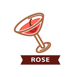 alcohol drink rose decorated with red berry vector image vector image