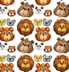 Seamless animal heads vector image vector image