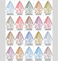 set of ribbons in the form of a christmas tree vector image vector image