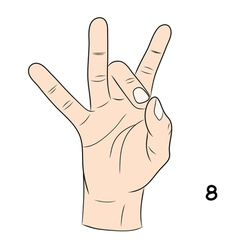 Sign language number 8 vector image vector image