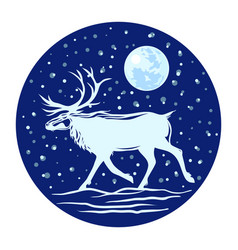 silhouette of a reindeer with horns against the vector image vector image