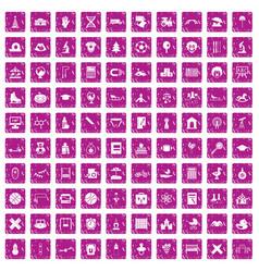 100 kids icons set grunge pink vector image vector image