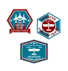 Aviation and tourism emblems vector