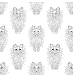 Fluffy Cat seamless pattern zentangle style vector image vector image