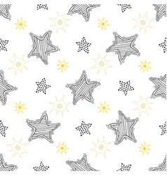 hand drawn sketch stars seamless pattern childish vector image vector image