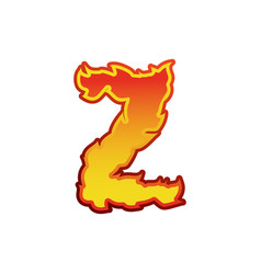 Letter z fire flames font lettering tattoo vector