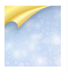 Light Blue Paper with Snowflake Texture and Curled vector image vector image