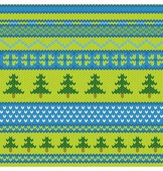Seamless knitted pattern with fir vector image vector image