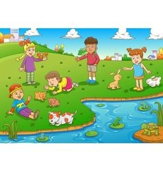 child and animal vector image vector image