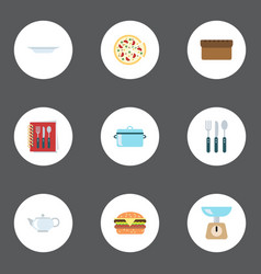 Flat icons cooking notebook loaf dish and other vector
