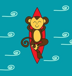 Funny brown monkey is surfing vector image vector image