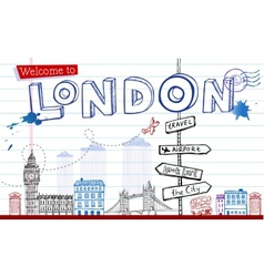 Greeting card from London in style doodles vector image