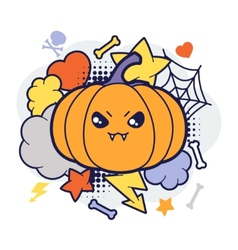Halloween kawaii print or card with cute doodle vector image