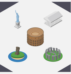 isometric cities set of coliseum new york athens vector image vector image