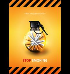 stop smoking advertisement tobacco grenade vector image