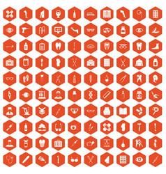 100 pharmacy icons hexagon orange vector