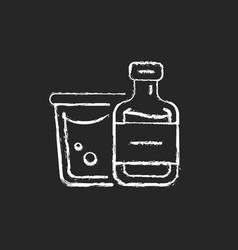 Airplane alcohol chalk white icon on dark vector