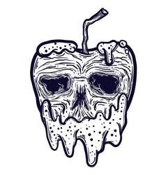 an isolated line art apple vector image