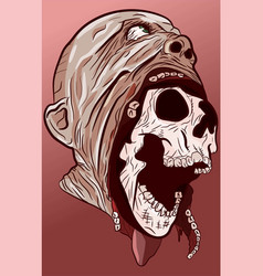 anatomy head skull coming out face vector image