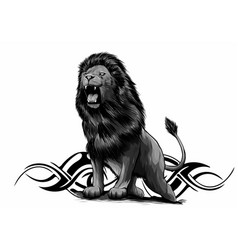 angry leaping lion in white vector image