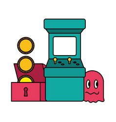 arcade chest coins ghost video game vector image