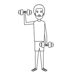 athletic man weight lifting character vector image