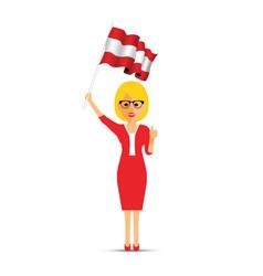 austria flag waving woman vector image