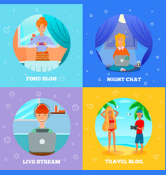 bloggers characters flat concept square vector image