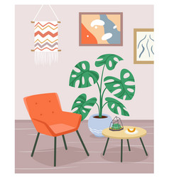 Boho house interior modern armchair furniture of vector