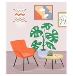 Boho house interior modern armchair furniture vector