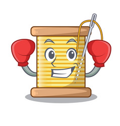 Boxing bobbin with needle thread spool cartoon vector