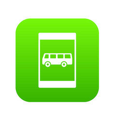 Bus stop sign icon digital green vector